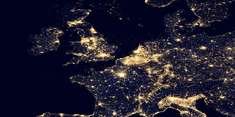 Vue satellite partielle de l'Europe