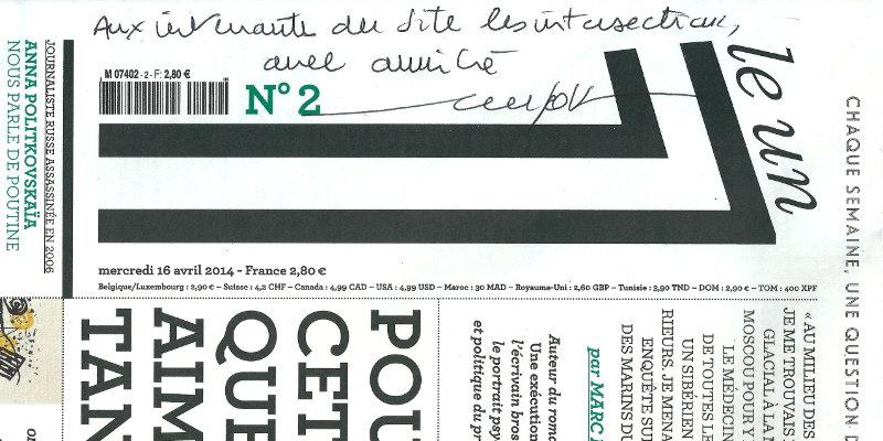 Couverture du 1, dédicacée aux lecteurs des Intersections par Éric Fottorino